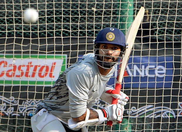 Shikhar Dhawan bats during a training session at The Sher-e-Bangla National Cricket Stadium in Dhaka on March 29, 2014. Getty
