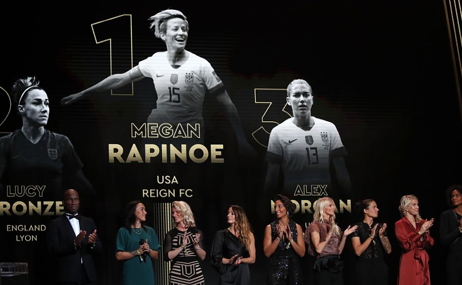 Megan Rapinoe won the women's Ballon d'Or after leading the United States to a record-extending fourth World Cup title in France this year as they retained the trophy. The 34-year-old midfielder, the standout player at the June-July tournament, succeeded Norway's Ada Hegerberg who did not take part in the World Cup. (AP)