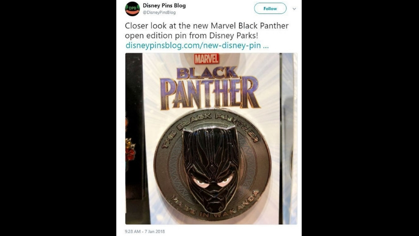 Black Panther pin showing a white-skinned man underneath. Image from Facebook