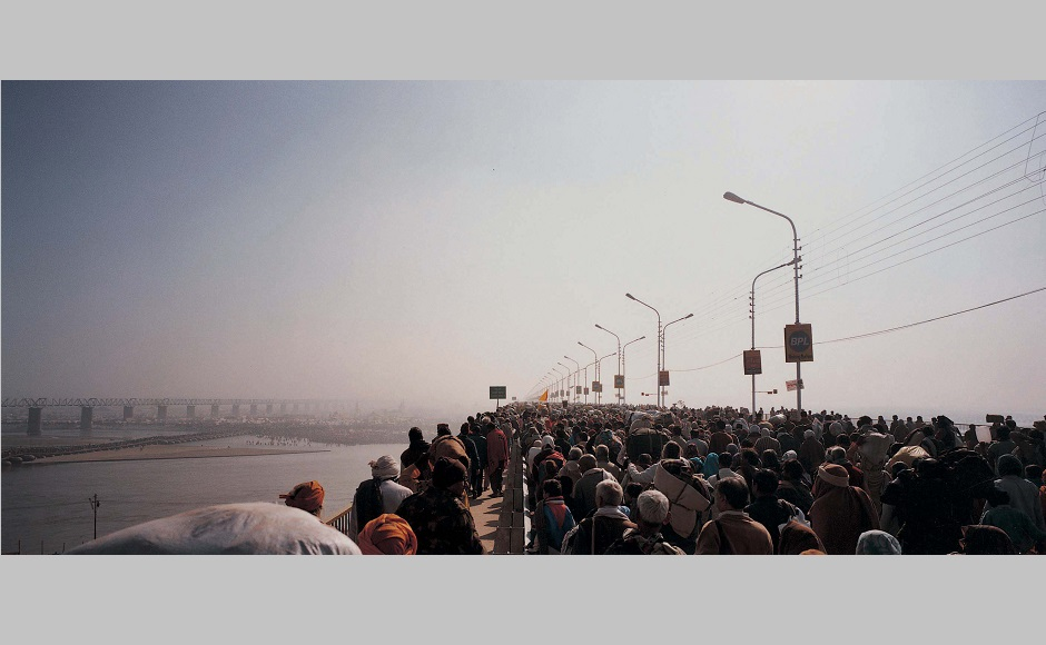 Maha Kumbh Mela at Allahabad, India (2001). The big format books shown at the Chennai Photo Biennale 2019 are original photographic prints designed to create three image-sequence organization in which one image relates to exterior and open landscapes, the other to interior and enclosed locations, and the third one to objects in space.