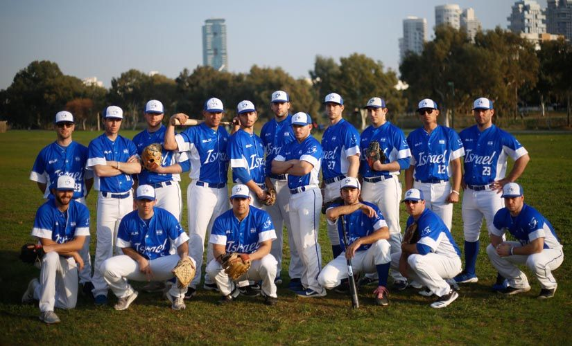Israel's national baseball team poses for a group photo at a team practice in Tel Aviv, Israel. AP