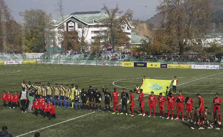 It was a David versus Goliath encounter of sorts, as Churchill Brothers are two-time former champions from Goa while Real Kashmir FC are in their first season in the I-League. Image: Sameer Mushtaq