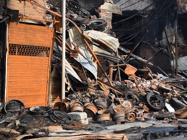 The tyre market in Gokulpuri was razed by protesters. Firstpost/Ismat Ara