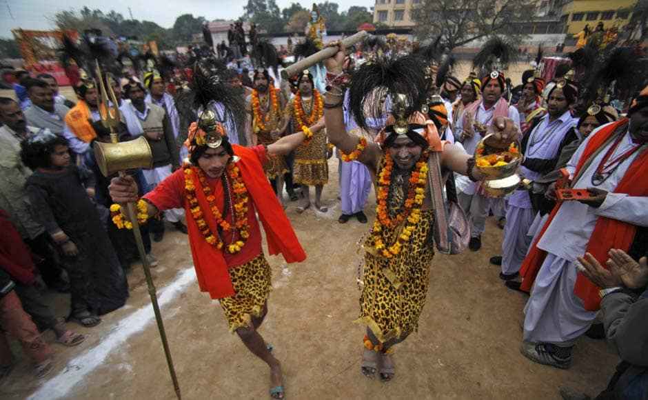 Devotees participate in a procession ahead of Shivratri festival, in Jammu. AP