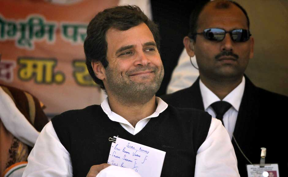 Rahul Gandhi's aggressive campaigning in the state has not paid off. The Congress is leading in 45 seats. AP
