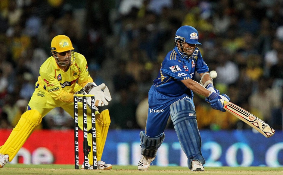 Sachin bats with Dhoni at the wickets. PTI