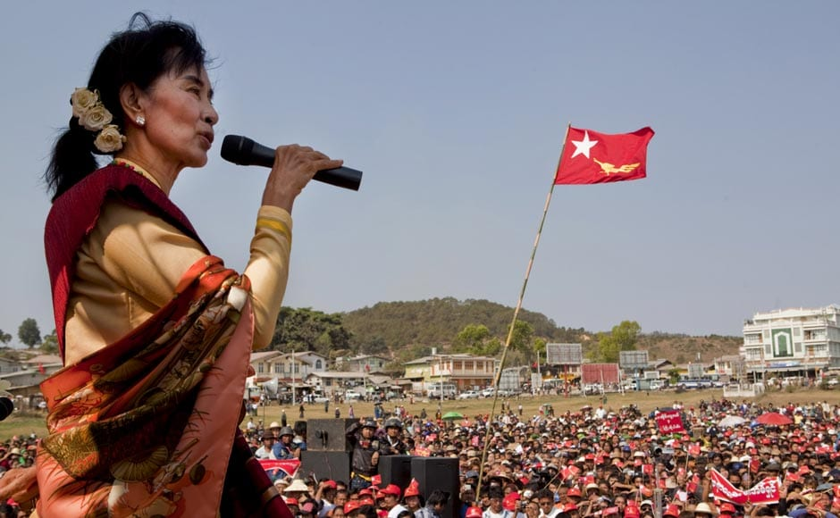 Aung San Suu Kyi, the leader of Myanmar's democracy movement, campaigns in Aungban, Shan State, Myanmar. NYT