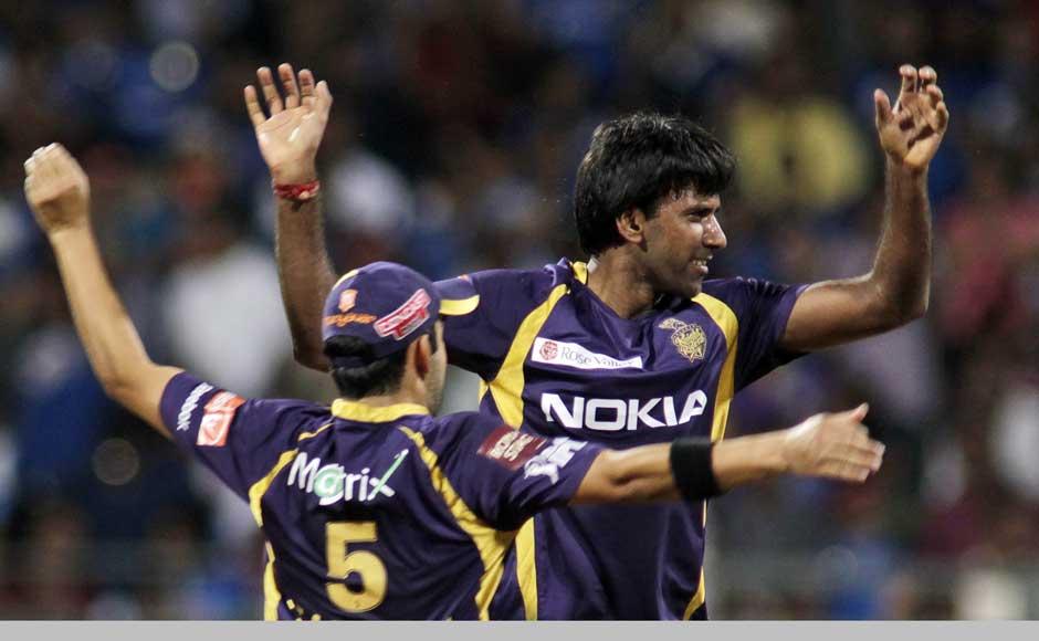 L Balaji celebrates after taking the wicket of Dinesh Karthik during their IPL match. AP