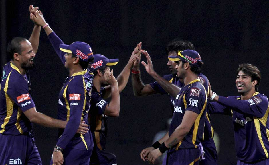 Kolkata Knight Riders players celebrate their victory over Mumbai Indians. PTI
