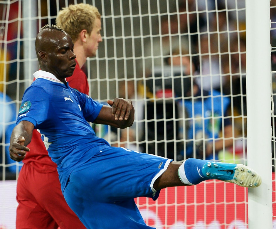 Balotelli shows his frustration at missing a chance against England in the quarter-final stage of Euro 2012. His clubmate Joe Hart was ironically England's keeper. Getty Images