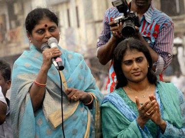 YS Sharmila (right) with her mother YS Vijayamma. PTI