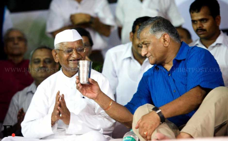 General VK Singh offers a glass of water to Anna Hazare to end his fast. Naresh Sharma/Firstpost