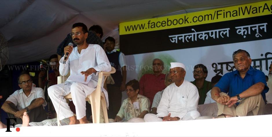 Team Anna member Arvind Kejriwal addresses the crowd at Jantar Mantar. Naresh Sharma/Firstpost