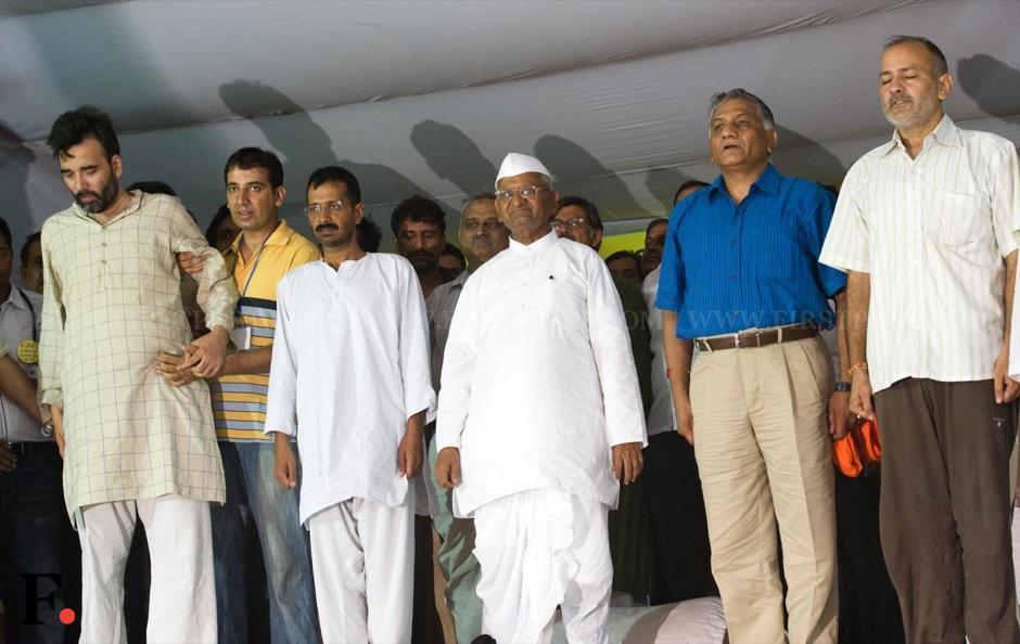 Gopal Rai, Arvind Kejriwal, Anna Hazare, Gen VK Singh Manish Sisodia. Naresh Sharma/Firstpost