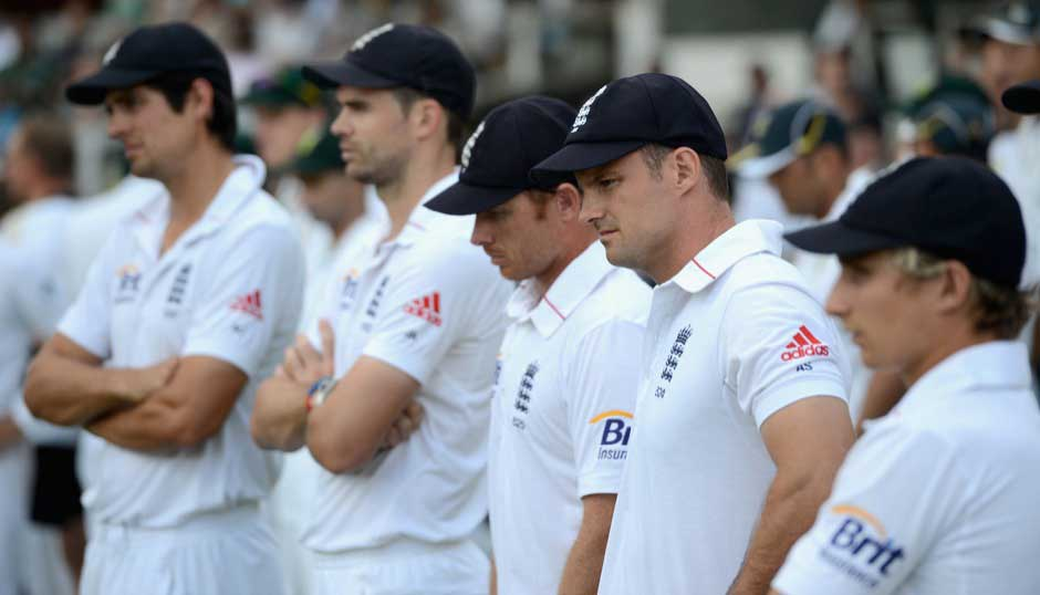 His last Test for England: Strauss with his team during day five of 3rd Test match between England and South Africa at Lord's on August 20, 2012. Getty Images