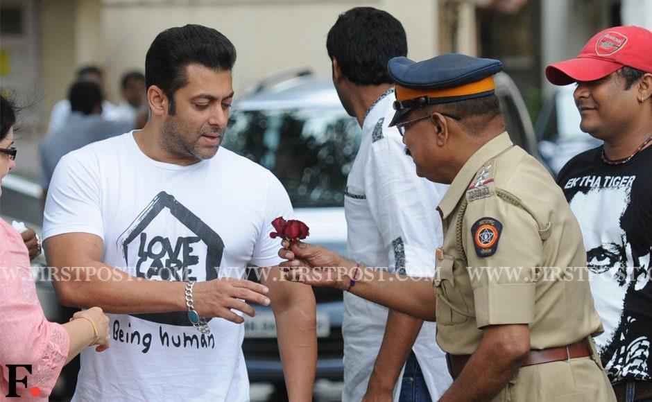 Salman Khan celebrates Eid at his Carter Road residence. Sachin Gokhale/Firstpost