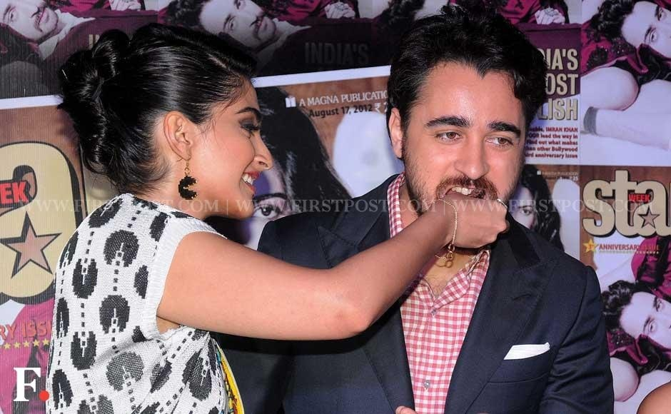 Sonam Kapoor and Imran Khan attend the third anniversary of a film tabloid, Star Week, at Vie Lounge in Juhu, Mumbai. Sachin Gokhale/Firstpost