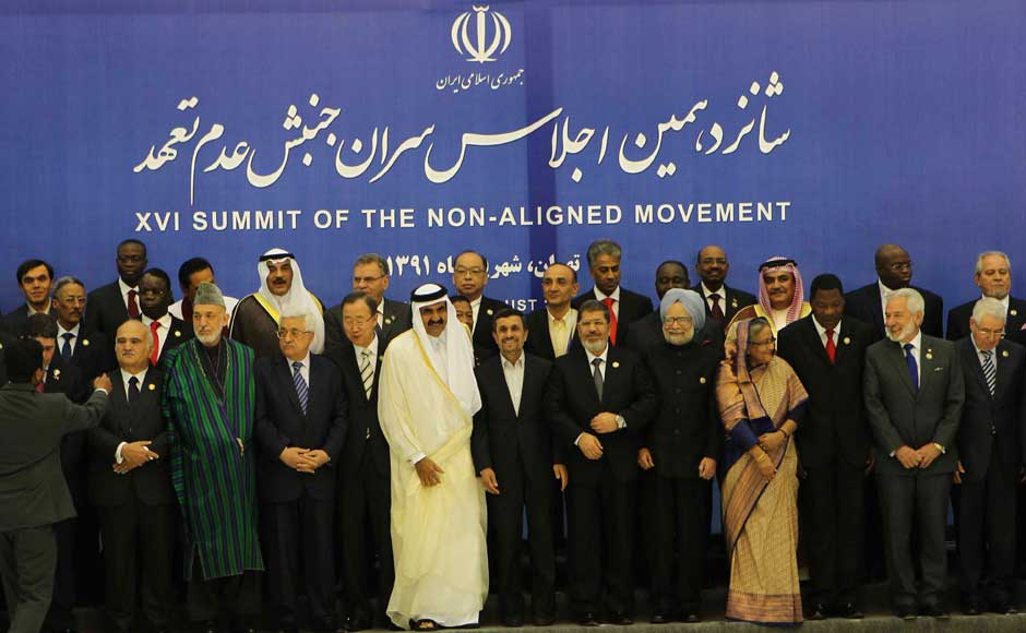 Prime Minister Manmohan Singh along with other Heads of State/Government and the Heads of Delegations at the XVI Non-Aligned Movement (NAM) Summit, in Tehran, Iran on 30 August 2012. Image courtesy PIB