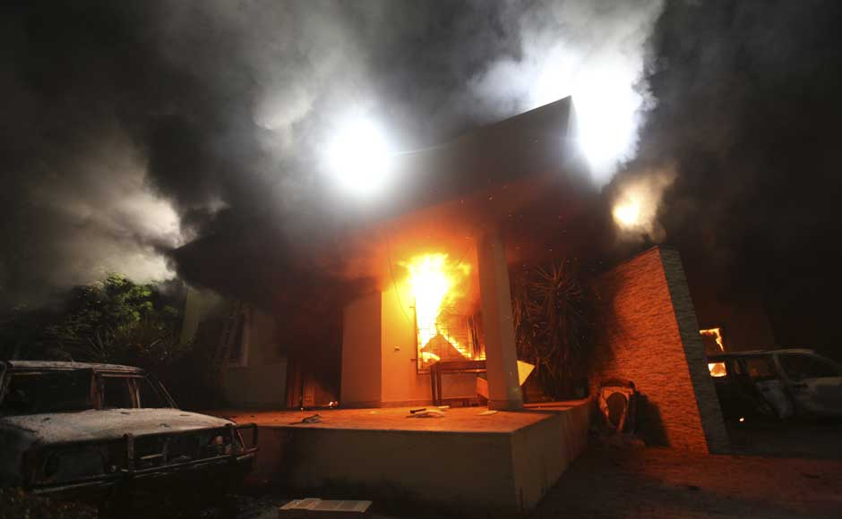 <br />The US Consulate in Benghazi is seen in flames during a protest by an armed group said to have been protesting a film being produced in the United States on September 11, 2012. US Ambassador to Libya J Christopher Stevens and three other staff members perished in the rocket attack, Libyan security sources said on Wednesday. Esam Al-Fetori/Reuters