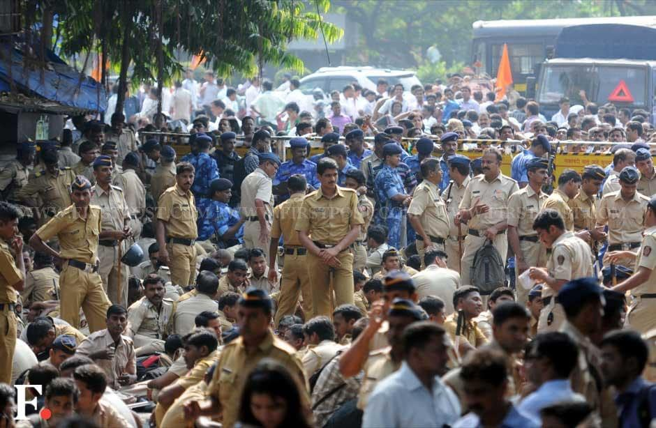 The police were deployed in numbers outside Thackerays' residence in suburban Mumbai and kept the media separate from the party's activists. Sachin Gokhale/ Firstpost