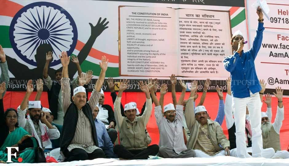 Arvind Kejriwal with other members of the national executive of the party at the formal launch of the Aam Aadmi Party at Jantar Mantar. Naresh Sharma/ Firstpost