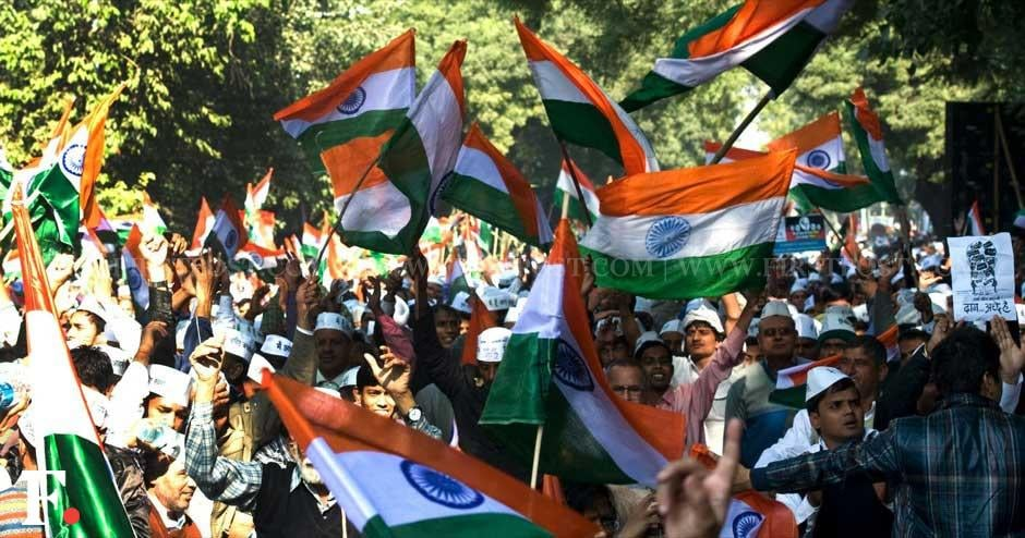 A sea of tricolours at the formal launch of the Aam Aadmi Party at Jantar Mantar. Naresh Sharma/ Firstpost
