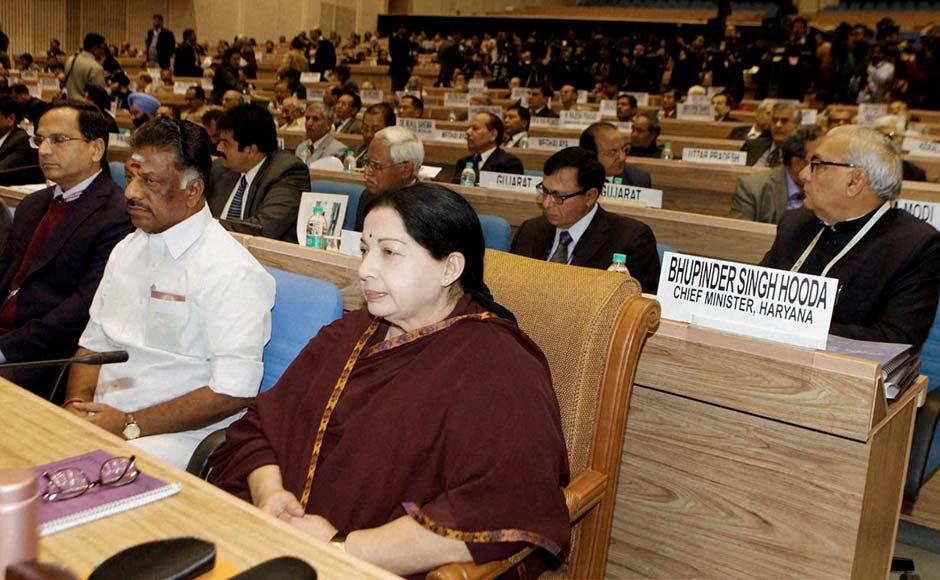 Tamil Nadu Chief Minister J. Jayalalithaa and others attending the 57th National Development Council (NDC) meeting in New Delhi on Thursday.PTI