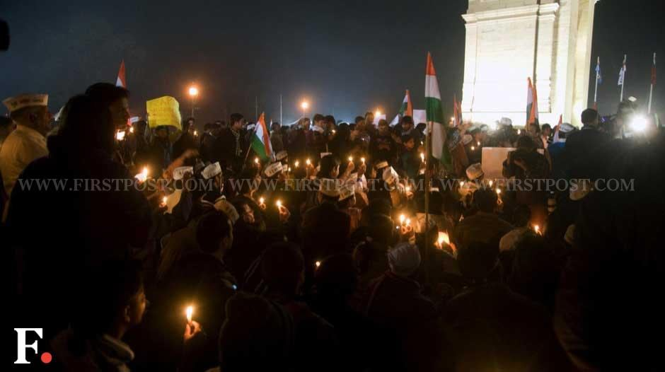 Activists and citizens gather at India gate to protest against the incident. Naresh Sharma/Firstpost
