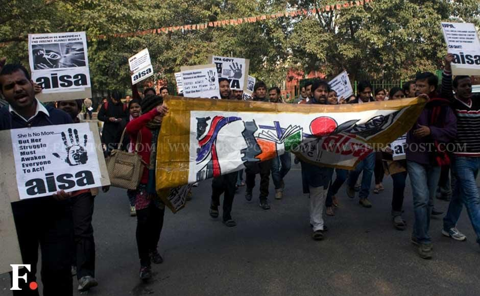 Protesters in Jantar Mantar raise slogans demanding stricter laws in the country to protect women. Naresh Sharma/Firstpost
