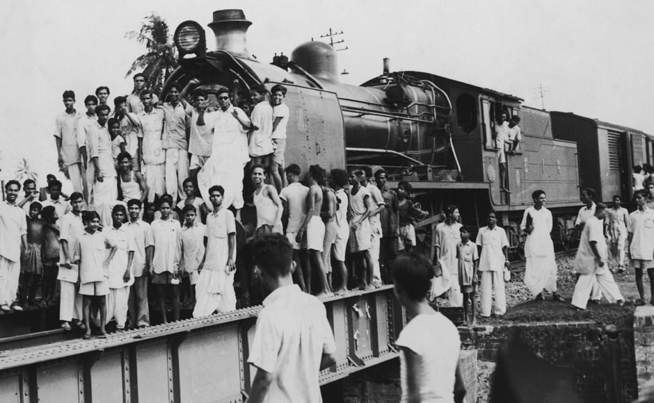 21st July 1952: Indian demonstrators hold up a train outside Calcutta in protest against excessive police action during a general strike. Getty Images
