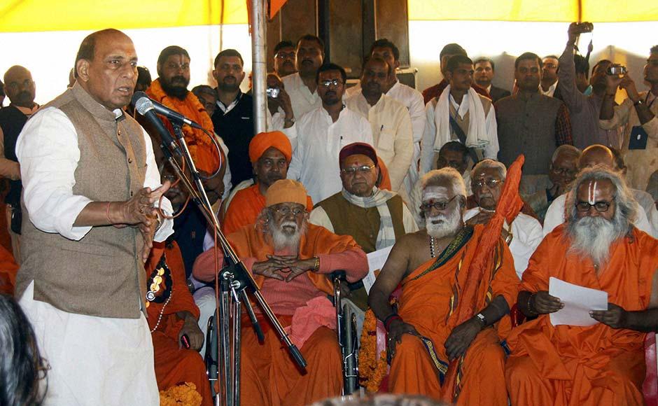 BJP President Rajnath Singh addresses a VHP meeting during a visit to Maha Kumbh Mela in Allahabad. PTI