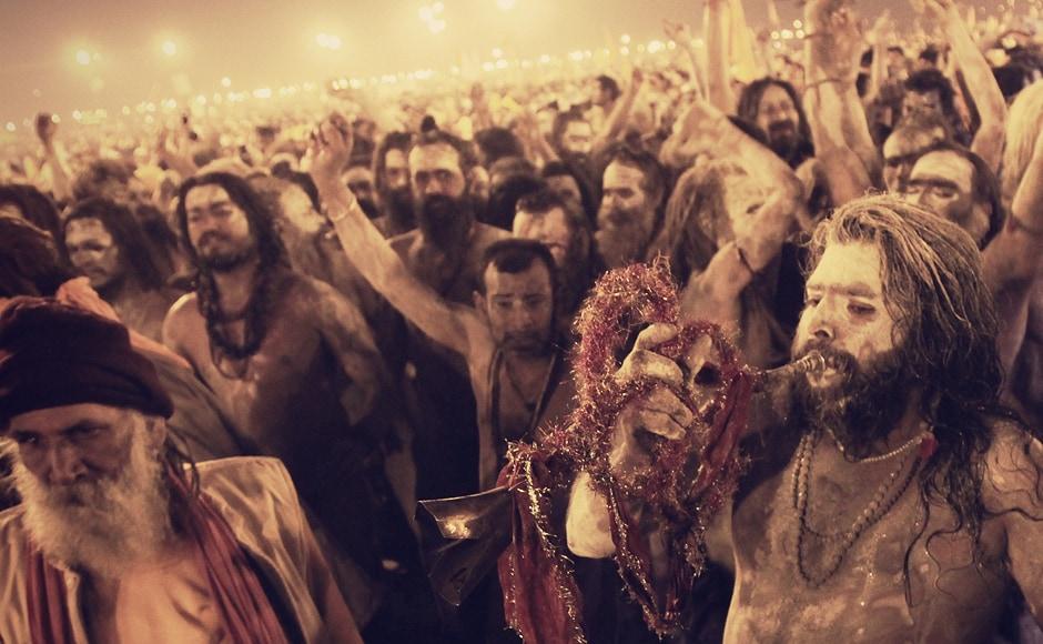 The Naga Sadhus sometimes break into inpromptu chants of Har Har Mahadev just to keep the rapidly declining adrenaline pumping. They have miles to go. Trilok Sengupta