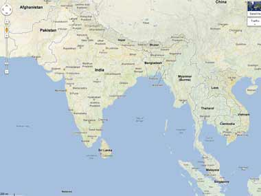 India still at the center of the indian ocean firstpost image from google maps publicscrutiny Images
