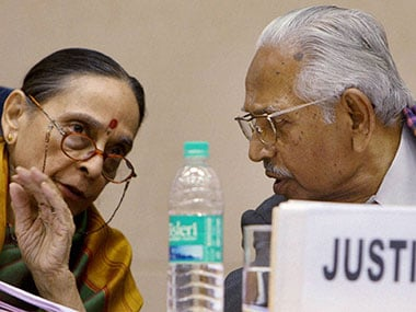 Verma and Leila Seth during the presentation of the report. PTI