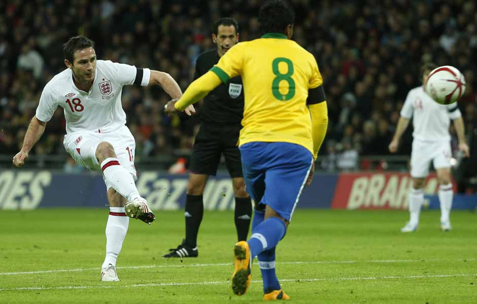 Frank Lampard scores to give England a 2-1 win — their first against Brazil in 23 years. Perfect way to celebrate the English FA's 150 years. Reuters
