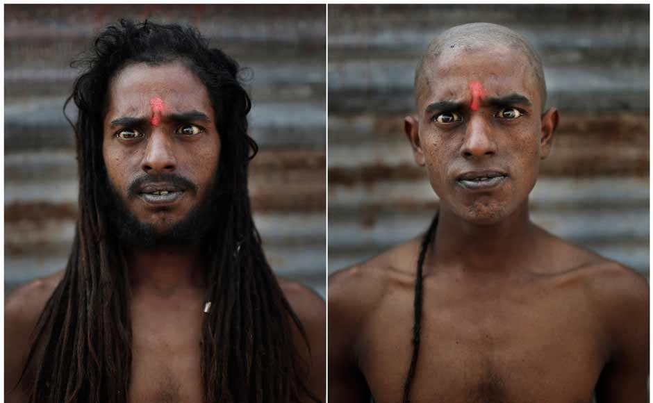 In this combination of two photos taken on 13 February, Hindu holy man Baba Vinod poses before, left, and after, right, he had his head and face shaved as part of an initiation ritual where he was to become Naga Sadhu. AP