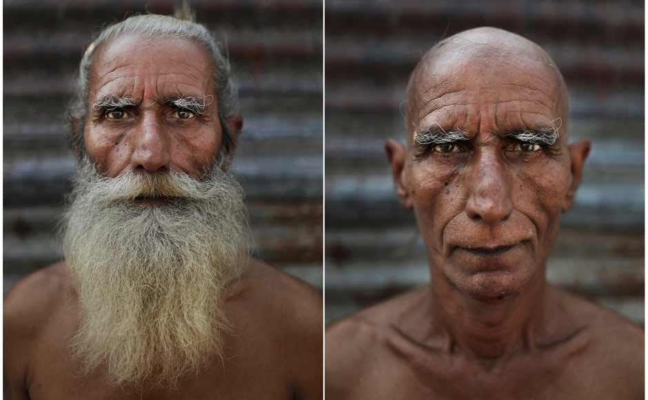 In this combination of two photos taken on 13 February Hindu holy man Baba Giri poses before, left, and after, right, he had his head and face shaved as part of an initiation ritual where he was to become a Naga Sadhu. AP