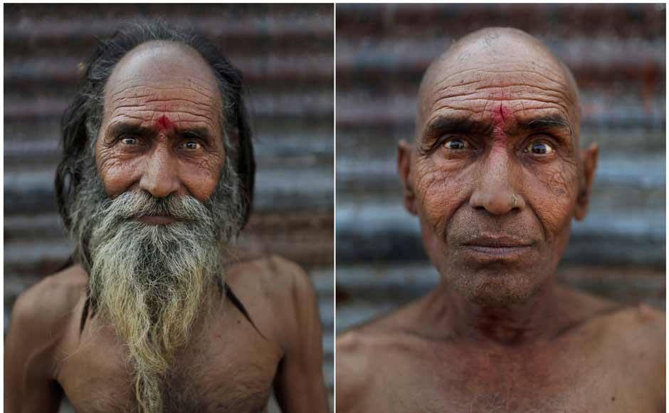 In this combination of two photos taken on 13 February, 2013, Hindu holy man Baba Ramshwal poses before, left, and after, right, he had his head and face shaved as part of an initiation ritual where he was to become a Naga Sadhu. AP