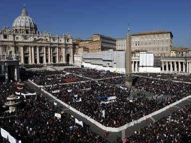 Many in the crowd had  banners thanking the pope and wishing him well. Reuters