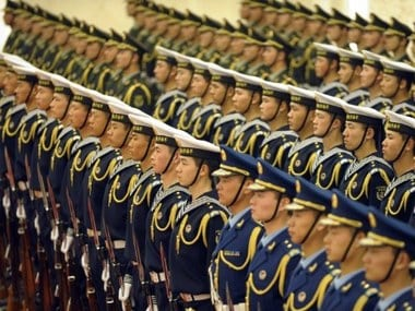 Members of a Chinese People's Liberation Army honour guard. AFP