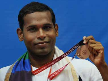 Karmakar with his Commomwealth medal. AFP