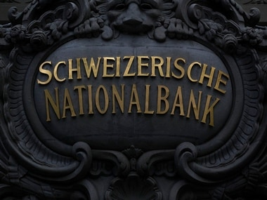File photo of Swiss National Bank (SNB) logo. AFP