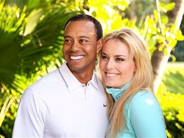 In this 2013 photo provided by Tiger Woods and Lindsey Vonn, golfer Tiger Woods and skier Lindsey Vonn pose for a portrait. Courtesy Tiger Woods/Lindsey Vonn