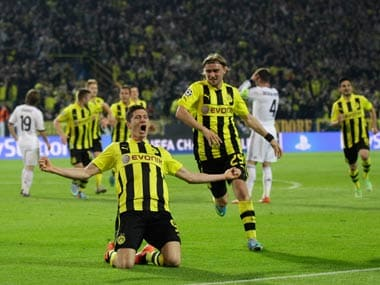 Lewandowski scored four times for Dortmund. AP