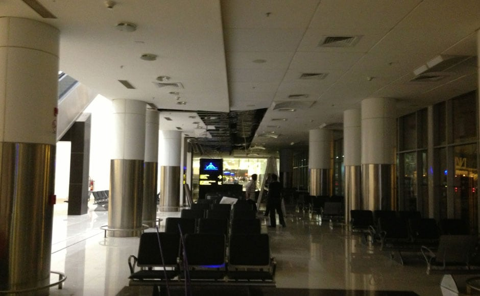 The area of the roof collapse in the Chennai domestic airport. Fortunately the shameful incident happened in the wee hours of the morning: Firstpost