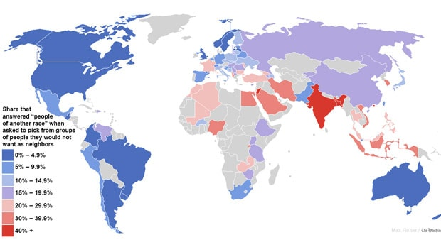 Painting india red why the global racism map is wrong firstpost the map of the worlds most and least racially tolerant countries image courtesy washington gumiabroncs Choice Image
