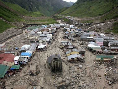 A view of the washed off buildings near Kedarnath Dham in Uttarakhand on Tuesday following incessant rains and floods. PTI