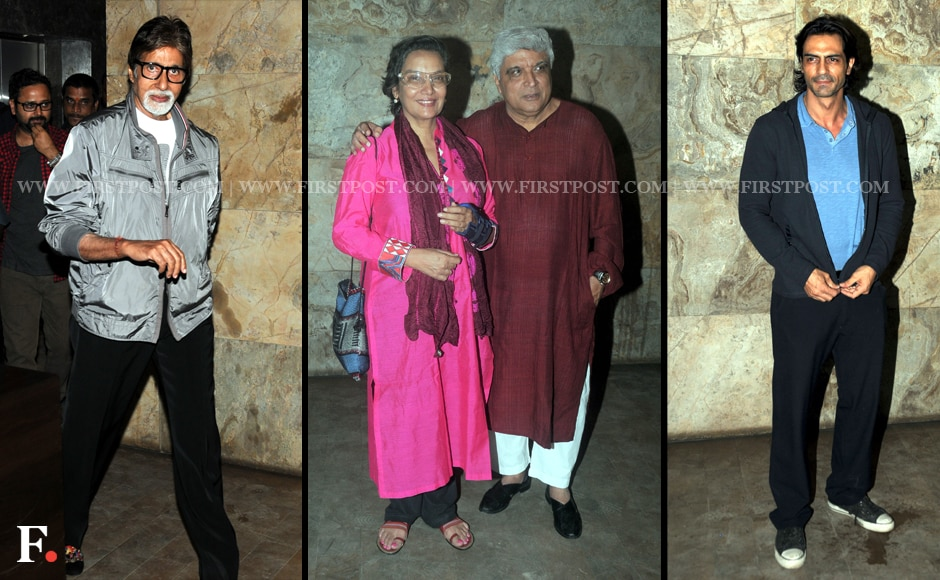Amitabh Bachchan, Shabana Azmi, Javed AKhtar and Arjun-Rampal attend the special screening of D-Day. Sachin Gokhale/Firstpost