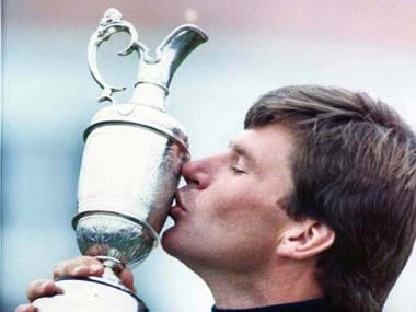 Nick Faldo kisses the claret jug after winning the British Open in 1987. AP