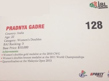 Pradnya Gadre's player's card from the IBL auction. Firstpost